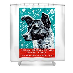 1957 Laika The Space Dog Shower Curtain