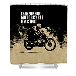 Crystal Palace Motorcycle Racing Shower Curtain by Mark Rogan