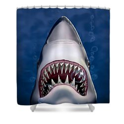 Jaws Great White Shark Art Shower Curtain by Walt Curlee