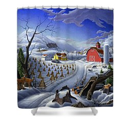 Folk Art Winter Landscape Shower Curtain