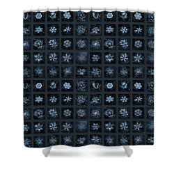 Snowflake Collage - Season 2013 Dark Crystals Shower Curtain