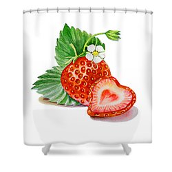 Artz Vitamins A Strawberry Heart Shower Curtain by Irina Sztukowski