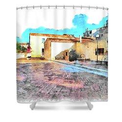 Arzachena Church Square Snow Madonna Shower Curtain