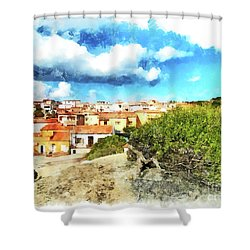 Arzachena Landscape With Clouds Shower Curtain