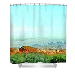 Arzachena Landscape With Mountains Shower Curtain