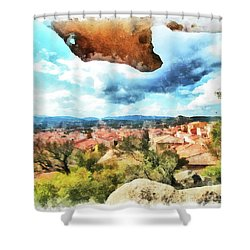 Arzachena Landscape With Rock Snd Clouds Shower Curtain