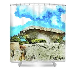 Arzachena Mushroom Rock Shower Curtain