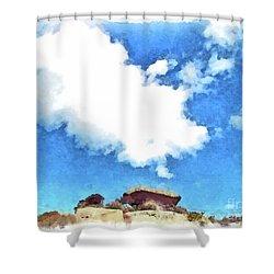 Arzachena Mushroom Rock With Cloud Shower Curtain