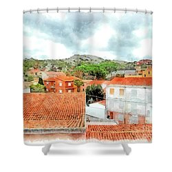 Arzachena Urban Landscape With Mountain Shower Curtain