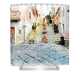 Arzachena View Staircase And Church Shower Curtain