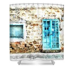 Arzachena Window And Blue Door Store Shower Curtain