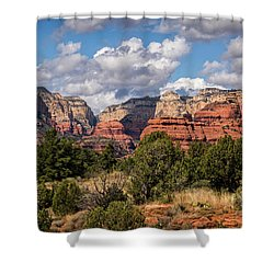 Shower Curtain featuring the photograph As The Clouds Pass On By In Sedona  by Saija Lehtonen