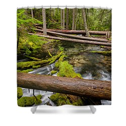 As The Creek Flows Shower Curtain by Greg Nyquist