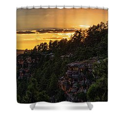 Shower Curtain featuring the photograph As The Sun Sets On The Rim  by Saija Lehtonen