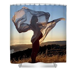 As The Wind Carries The Flower Of A New Life Shower Curtain