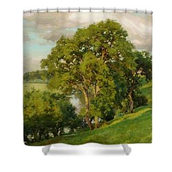 Ash Trees At Cropthorne Worcestershire Shower Curtain
