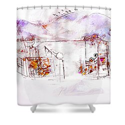 Asheville Mountains Old Friends And A Garden Bench   Shower Curtain