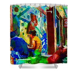 Shower Curtain featuring the painting Ashville Art District by Ted Azriel