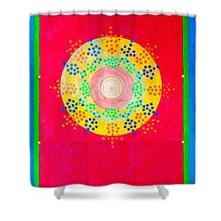Shower Curtain featuring the painting Asia Sun by Thomas Gronowski