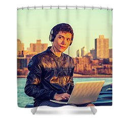 Asian American College Student Traveling, Studying In New York Shower Curtain