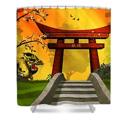 Asian Art Chinese Landscape  Shower Curtain by John Wills