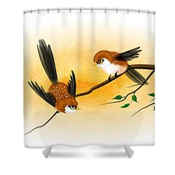 Asian Art Two Little Sparrows Shower Curtain by John Wills