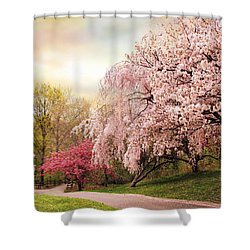 Asian Cherry Grove Shower Curtain by Jessica Jenney