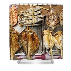 Asian Grilled Barbecued Seafood In Kep Market Cambodia Shower Curtain