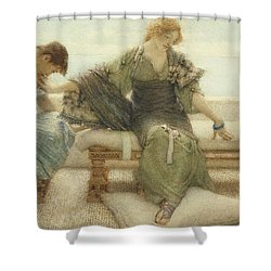 Ask Me No More....for At A Touch I Yield Shower Curtain by Sir Lawrence Alma-Tadema