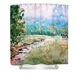 Shower Curtain featuring the painting Aska Farm Creek by Gretchen Allen
