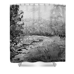Shower Curtain featuring the painting Aska Farm Horses In Bw by Gretchen Allen