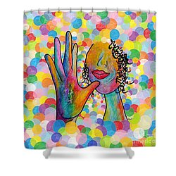 Asl Mother On A Bright Bubble Background Shower Curtain by Eloise Schneider