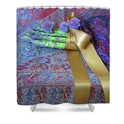 Shower Curtain featuring the photograph Asparagus And Cornflowers, Garden Blessings by Nancy Lee Moran