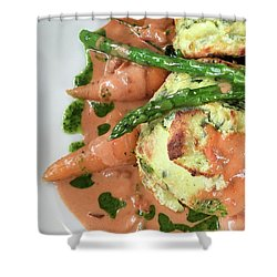 Asparagus Dish Shower Curtain by Tom Gowanlock