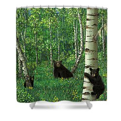 Aspen Bear Nursery Shower Curtain