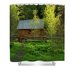 Shower Curtain featuring the photograph Aspen Cabin by Leland D Howard