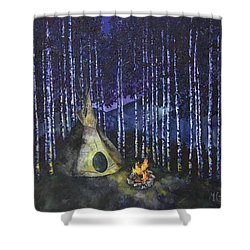 Shower Curtain featuring the painting Aspen Camp by Melinda Cummings