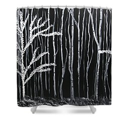 Shower Curtain featuring the painting Aspen Forest by Dolores  Deal