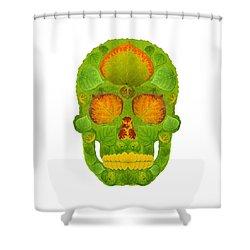 Aspen Leaf Skull 10 Shower Curtain by Agustin Goba