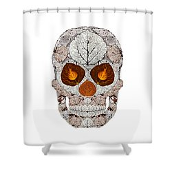 Aspen Leaf Skull 11 Shower Curtain by Agustin Goba