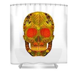 Aspen Leaf Skull 12 Shower Curtain by Agustin Goba