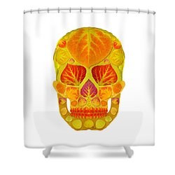 Aspen Leaf Skull 13 Shower Curtain by Agustin Goba