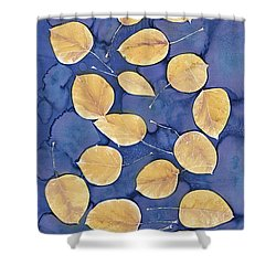 Aspen Leaves On Water Shower Curtain by Carolyn Doe