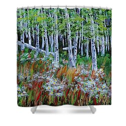 Aspens And Wildflowers Shower Curtain