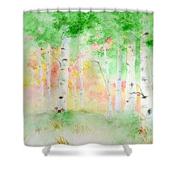 Shower Curtain featuring the painting Aspens by Andrew Gillette