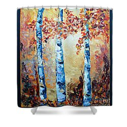 Shower Curtain featuring the painting Aspens In Glow by Phyllis Howard