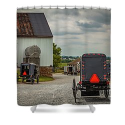 Assorted Amish Buggies At Barn Shower Curtain