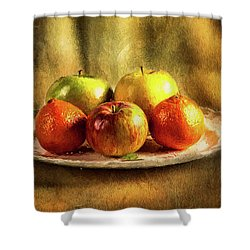 Assorted Fruits In A Plate Shower Curtain