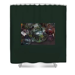 Shower Curtain featuring the photograph Assorted Witching Balls by Suzanne Gaff