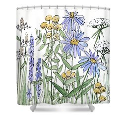 Asters And Wildflowers Shower Curtain